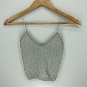 Free People shimmery spaghetti strap crop top